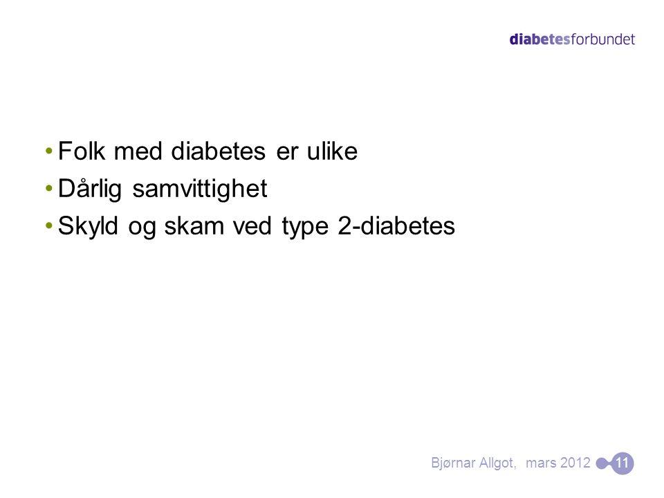 Folk med diabetes er ulike Dårlig samvittighet
