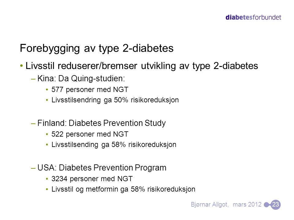 Forebygging av type 2-diabetes