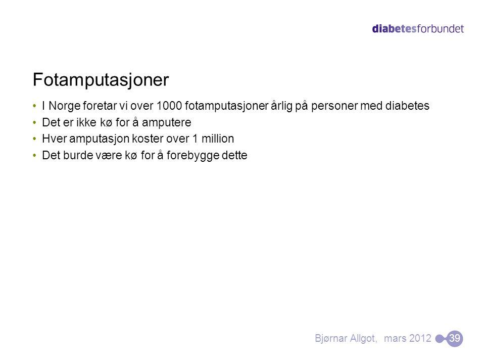 Fotamputasjoner I Norge foretar vi over 1000 fotamputasjoner årlig på personer med diabetes. Det er ikke kø for å amputere.