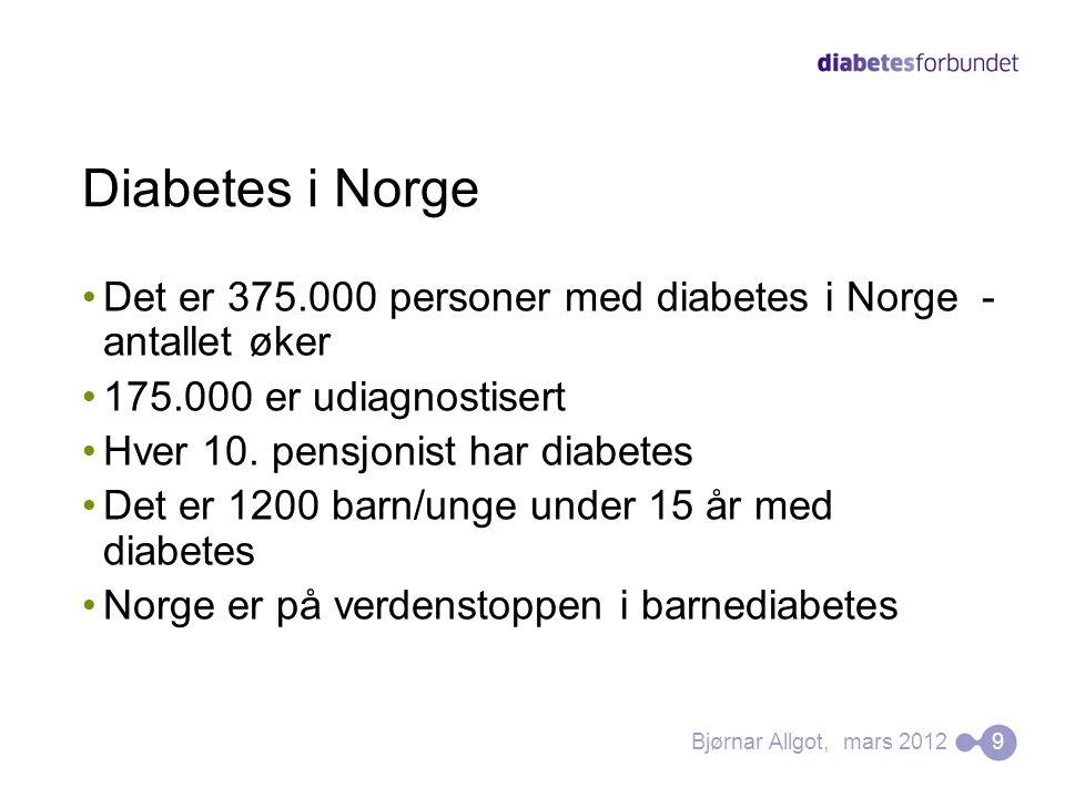 Diabetes i Norge Det er 375.000 personer med diabetes i Norge - antallet øker. 175.000 er udiagnostisert.