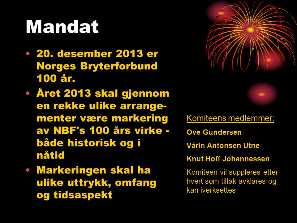 Mandat 20. desember 2013 er Norges Bryterforbund 100 år.