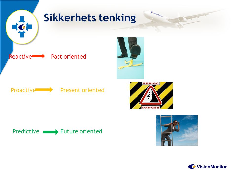 Sikkerhets tenking Reactive Past oriented Proactive Present oriented