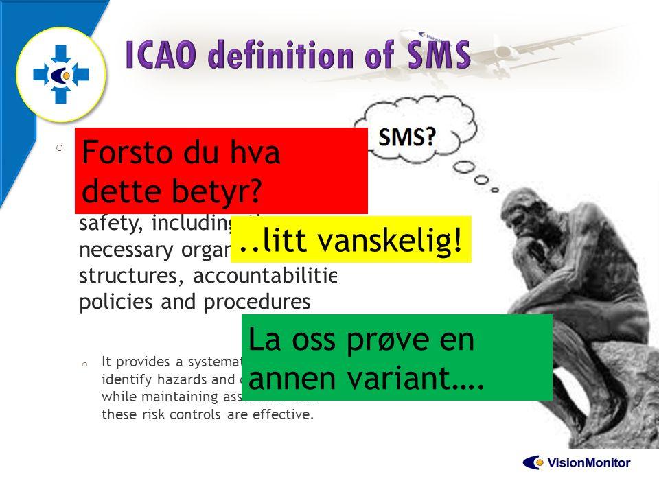 ICAO definition of SMS Forsto du hva dette betyr ..litt vanskelig!