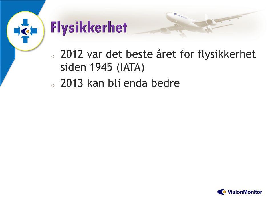 Flysikkerhet 2012 var det beste året for flysikkerhet siden 1945 (IATA) 2013 kan bli enda bedre