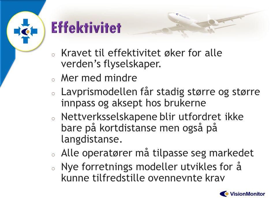 Effektivitet Kravet til effektivitet øker for alle verden's flyselskaper. Mer med mindre.