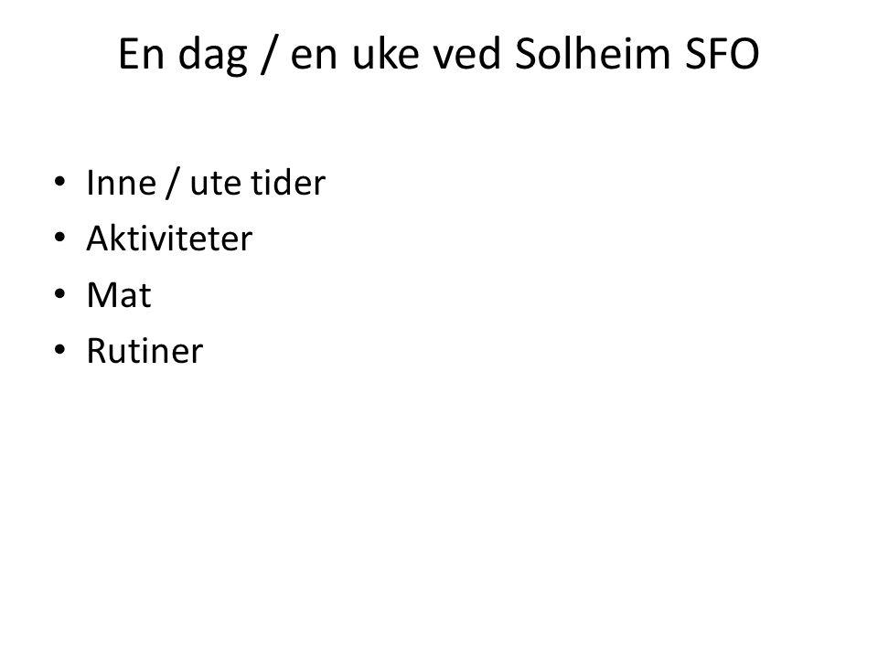 En dag / en uke ved Solheim SFO