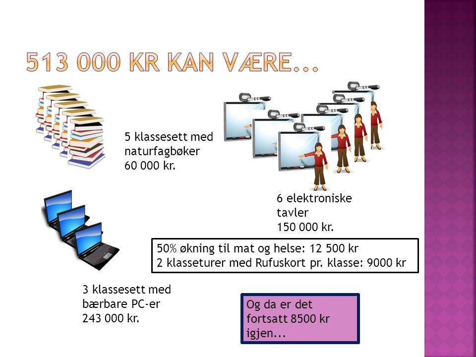 513 000 kr kan være... 5 klassesett med naturfagbøker 60 000 kr.
