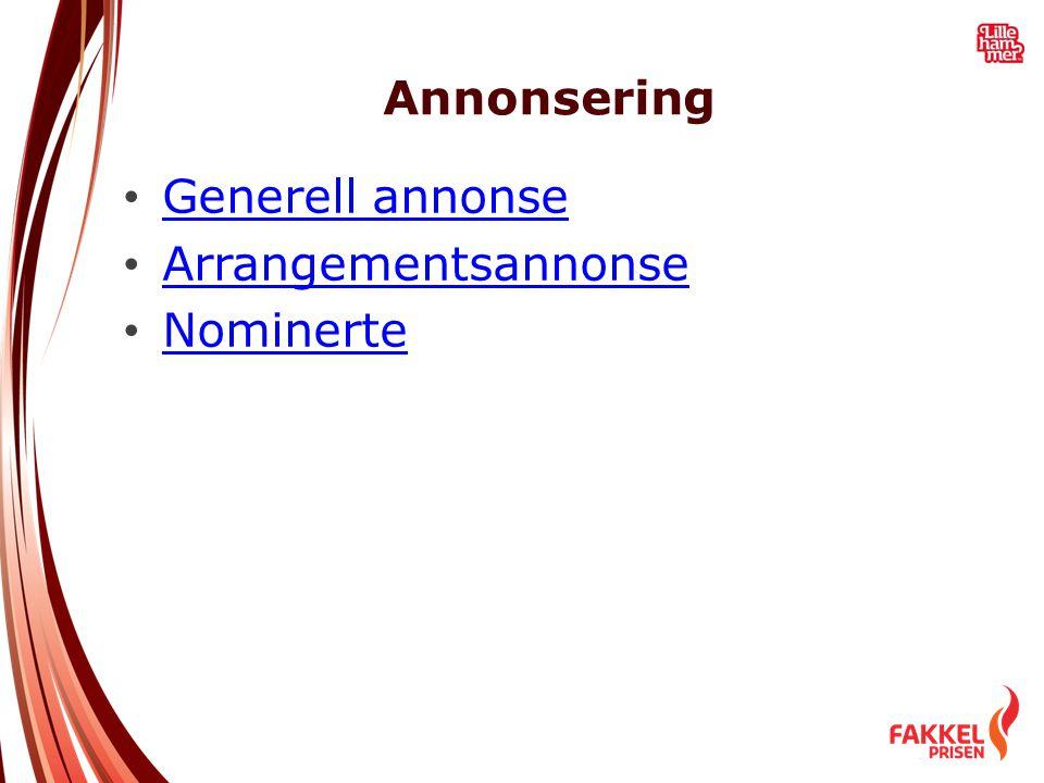 Annonsering Generell annonse Arrangementsannonse Nominerte
