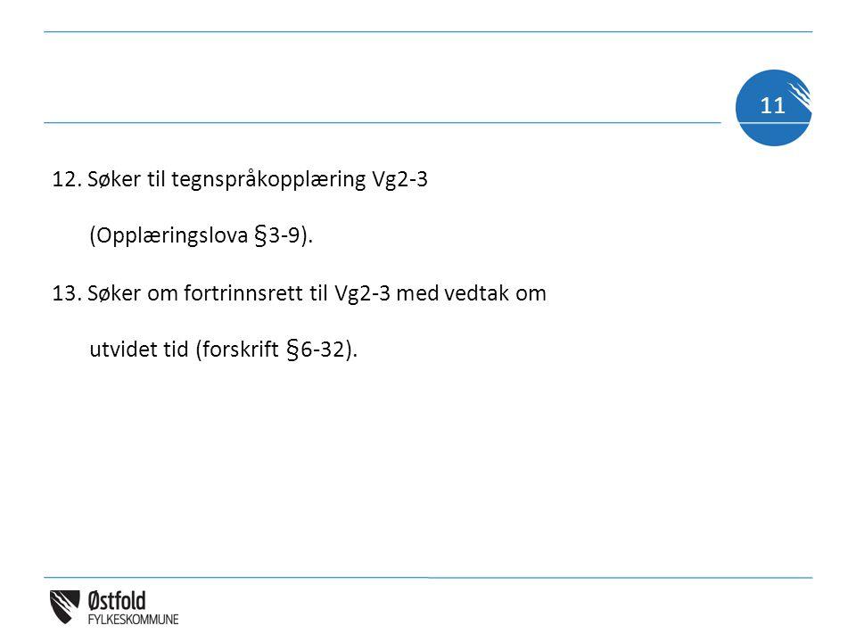12. Søker til tegnspråkopplæring Vg2-3 (Opplæringslova §3-9). 13