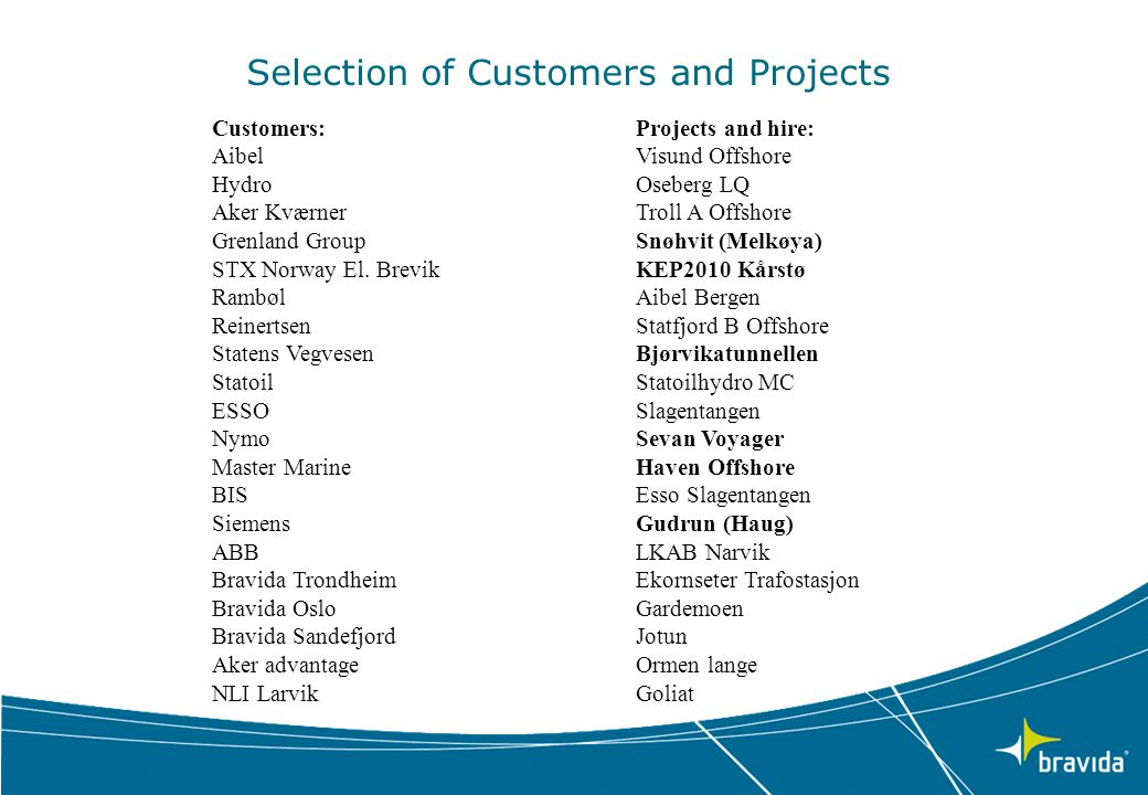 Selection of Customers and Projects