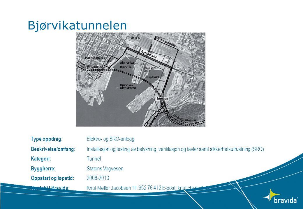 Bjørvikatunnelen Type oppdrag: Elektro- og SRO-anlegg