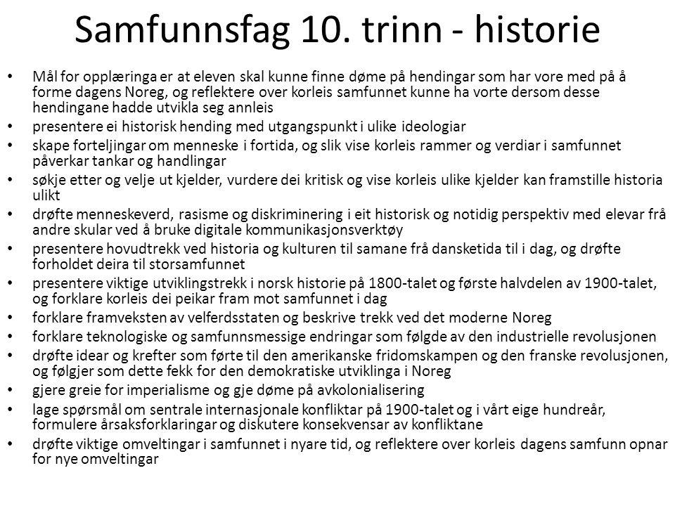 Samfunnsfag 10. trinn - historie