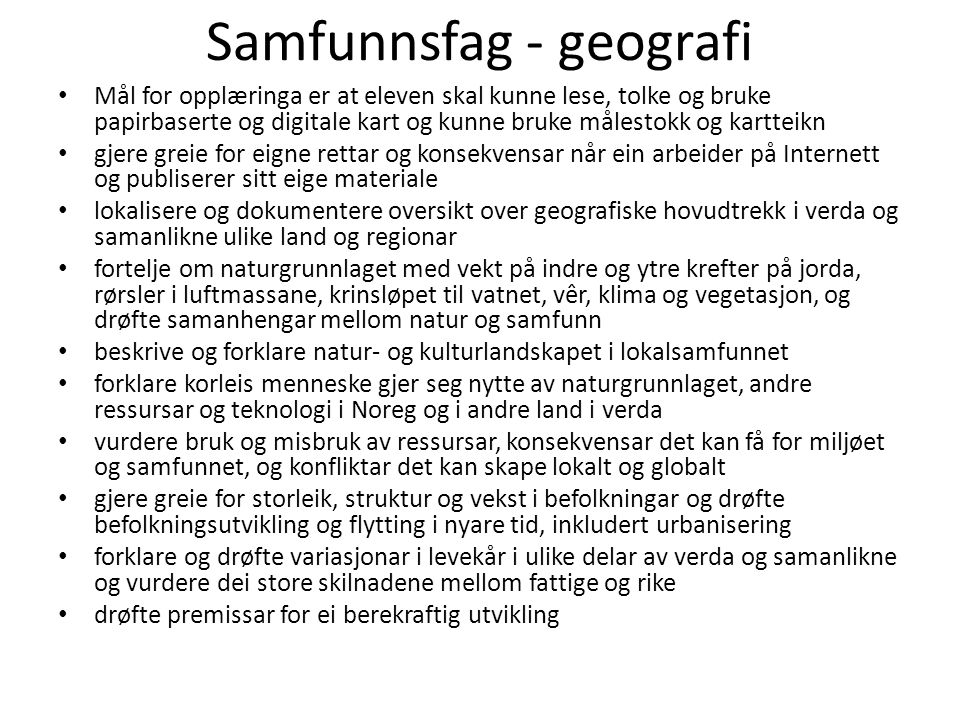 Samfunnsfag - geografi