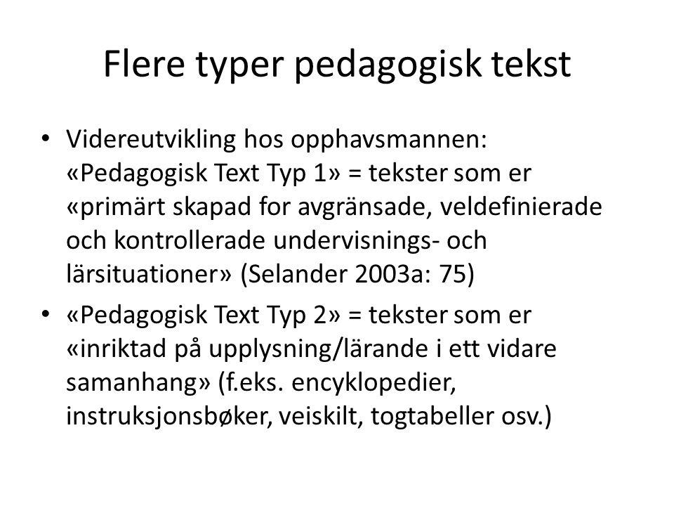 Flere typer pedagogisk tekst