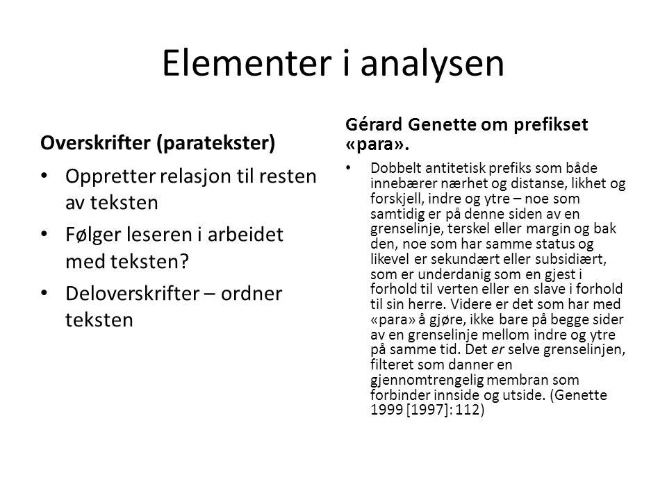 Elementer i analysen Overskrifter (paratekster)