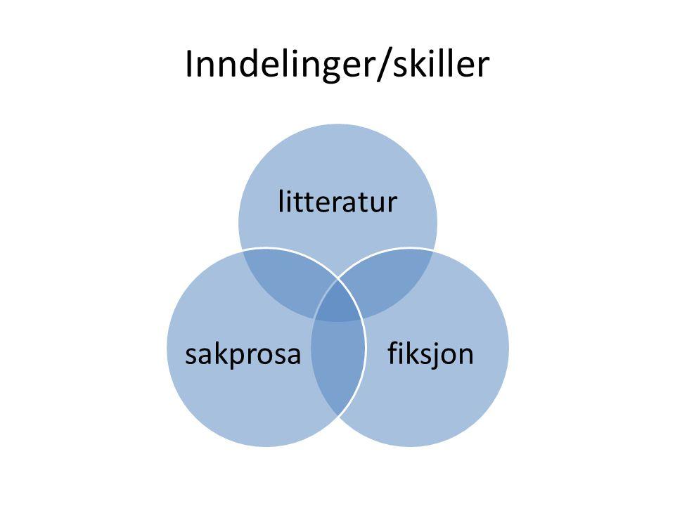 Inndelinger/skiller litteratur fiksjon sakprosa