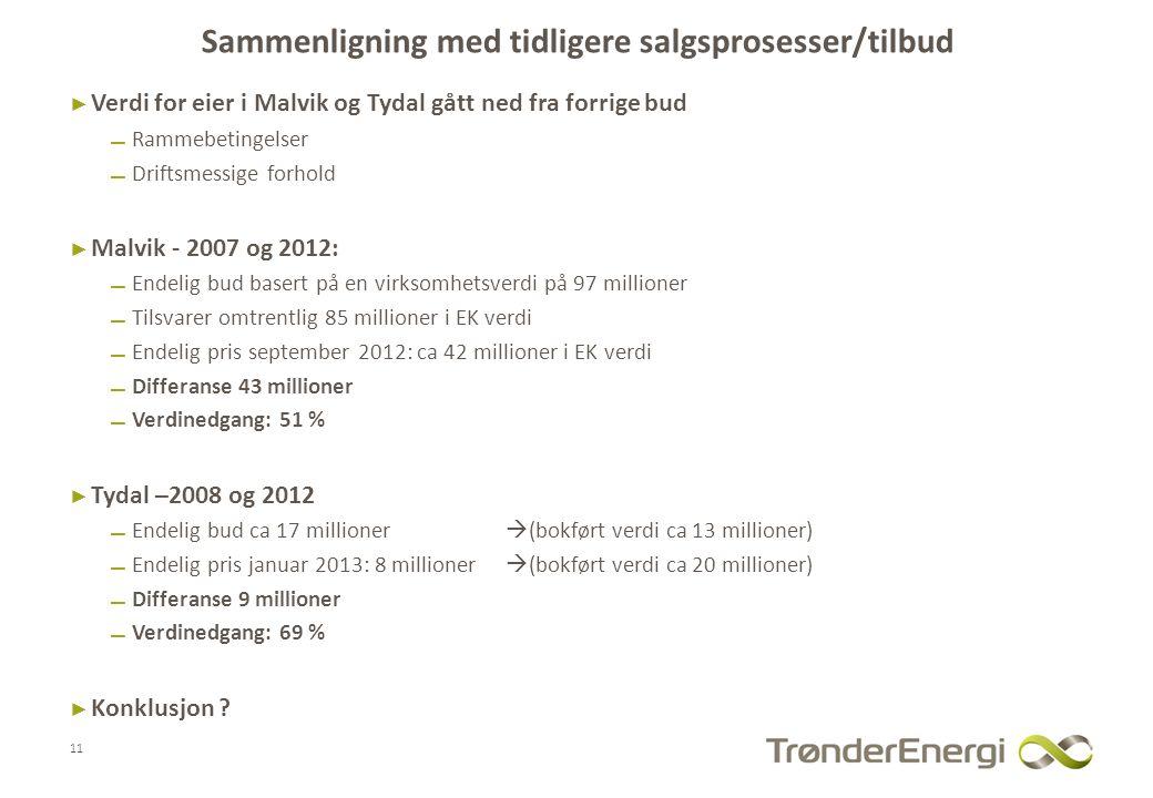 Sammenligning med tidligere salgsprosesser/tilbud