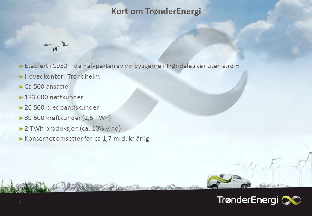 Kort om TrønderEnergi Etablert i 1950 – da halvparten av innbyggerne i Trøndelag var uten strøm. Hovedkontor i Trondheim.