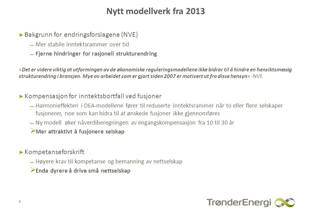 Nytt modellverk fra 2013 Bakgrunn for endringsforslagene (NVE)