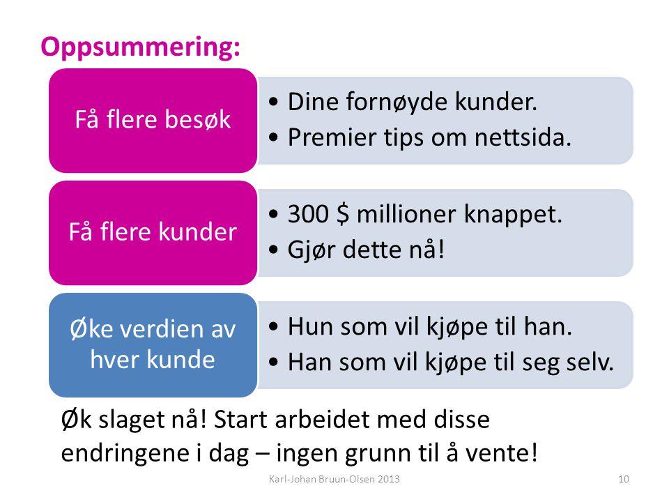 Oppsummering: Dine fornøyde kunder. Premier tips om nettsida.