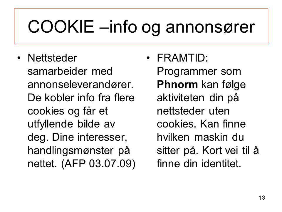COOKIE –info og annonsører