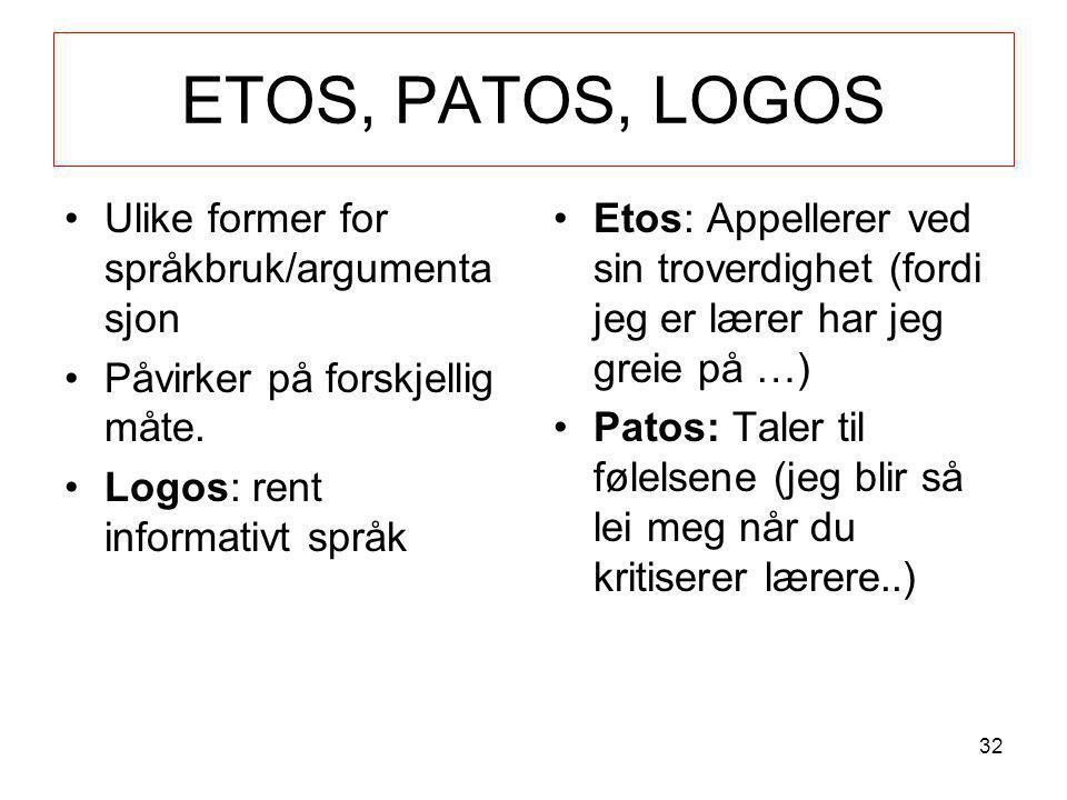 ETOS, PATOS, LOGOS Ulike former for språkbruk/argumentasjon
