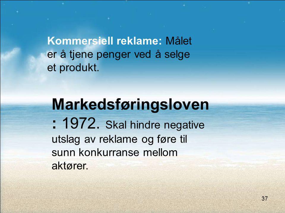 Kommersiell reklame: Målet er å tjene penger ved å selge et produkt.