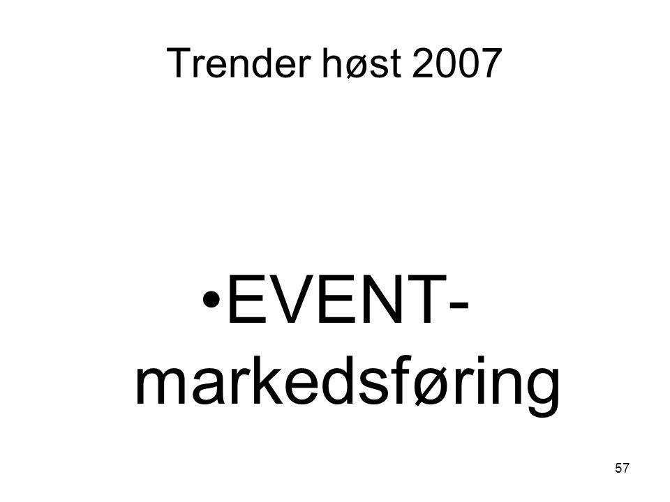 Trender høst 2007 EVENT-markedsføring
