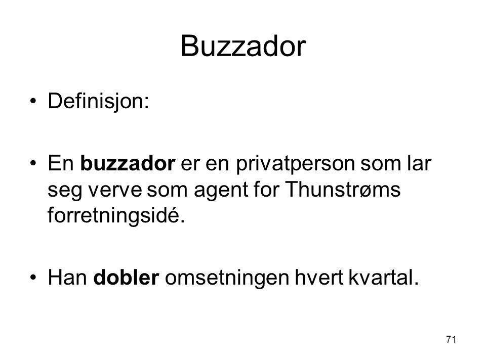 Buzzador Definisjon: En buzzador er en privatperson som lar seg verve som agent for Thunstrøms forretningsidé.