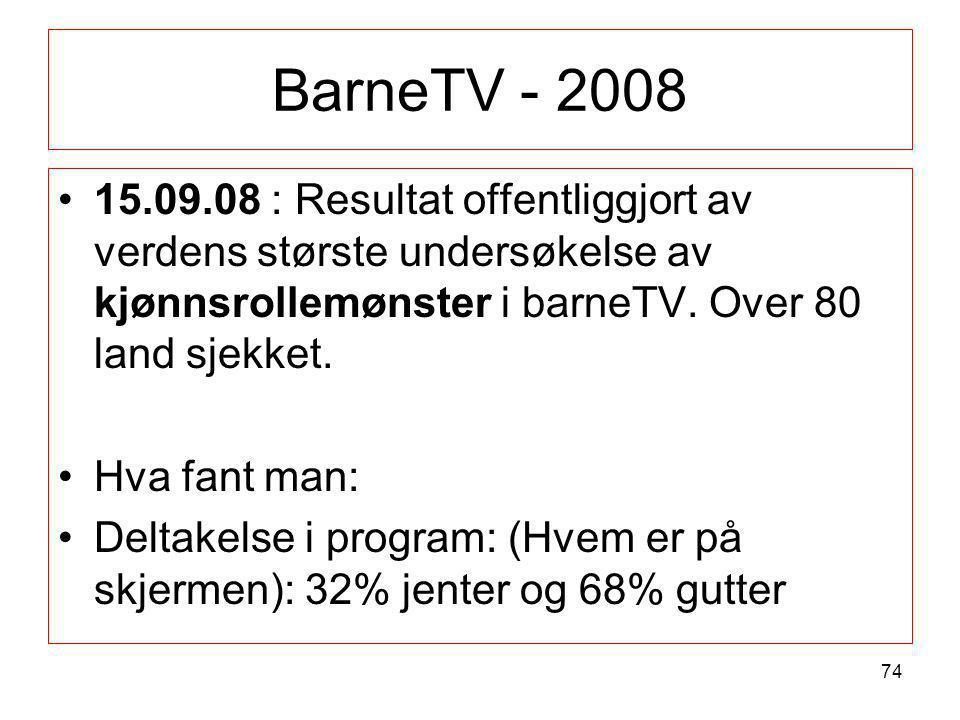 BarneTV - 2008 15.09.08 : Resultat offentliggjort av verdens største undersøkelse av kjønnsrollemønster i barneTV. Over 80 land sjekket.