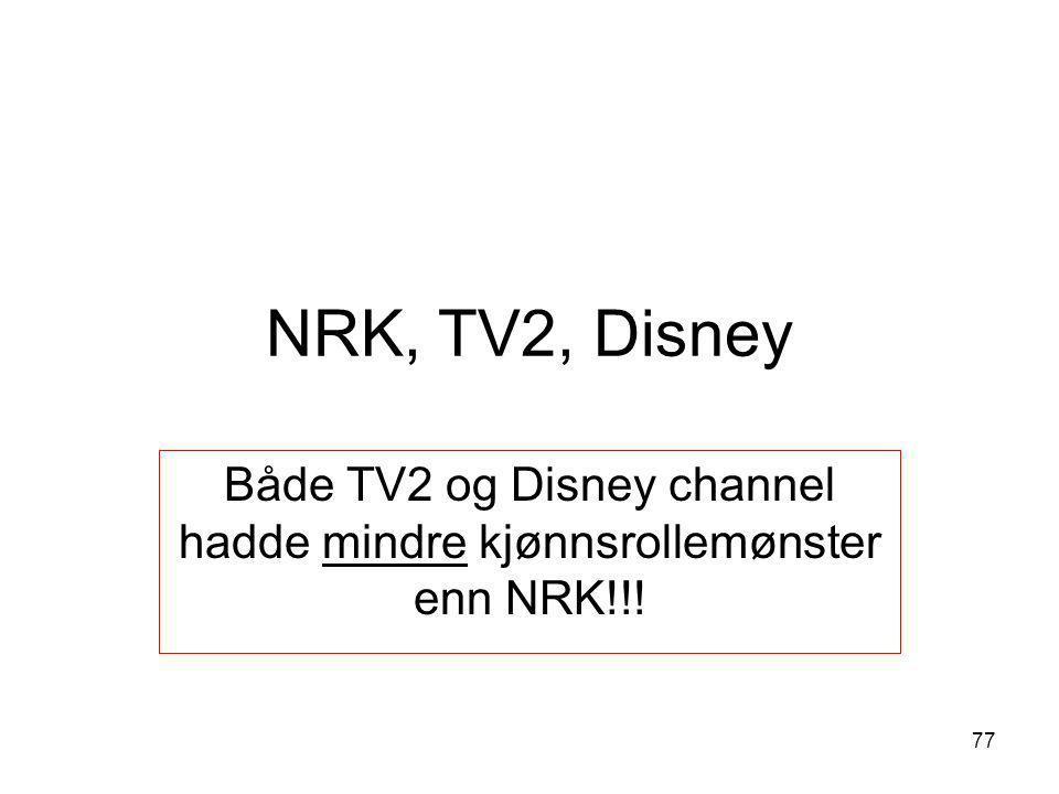 Både TV2 og Disney channel hadde mindre kjønnsrollemønster enn NRK!!!