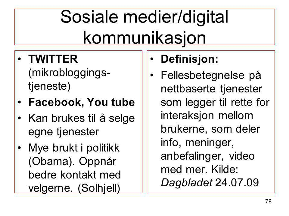 Sosiale medier/digital kommunikasjon