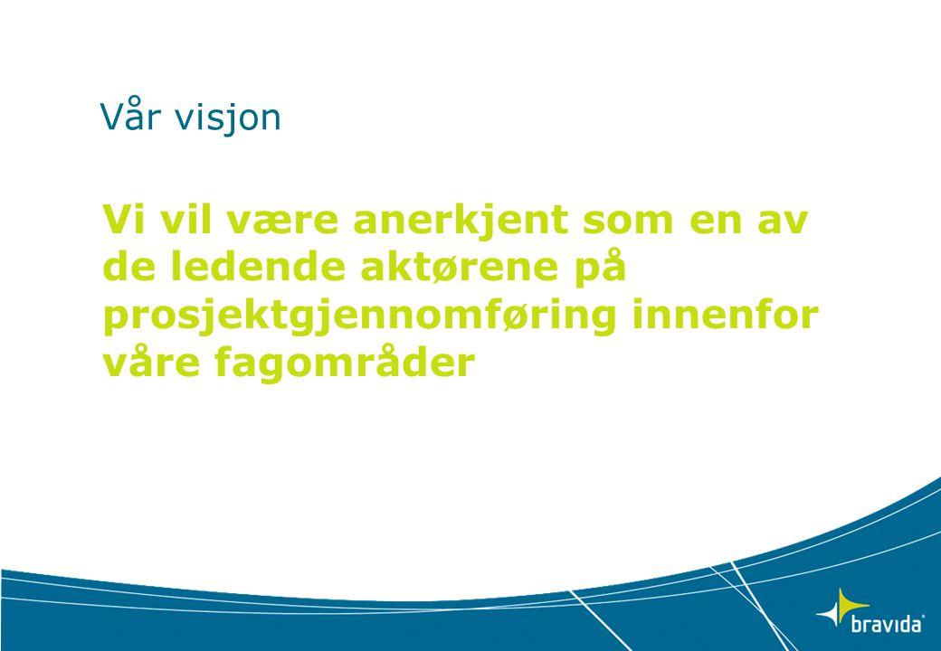 Vår visjon Vi vil være anerkjent som en av de ledende aktørene på prosjektgjennomføring innenfor våre fagområder.