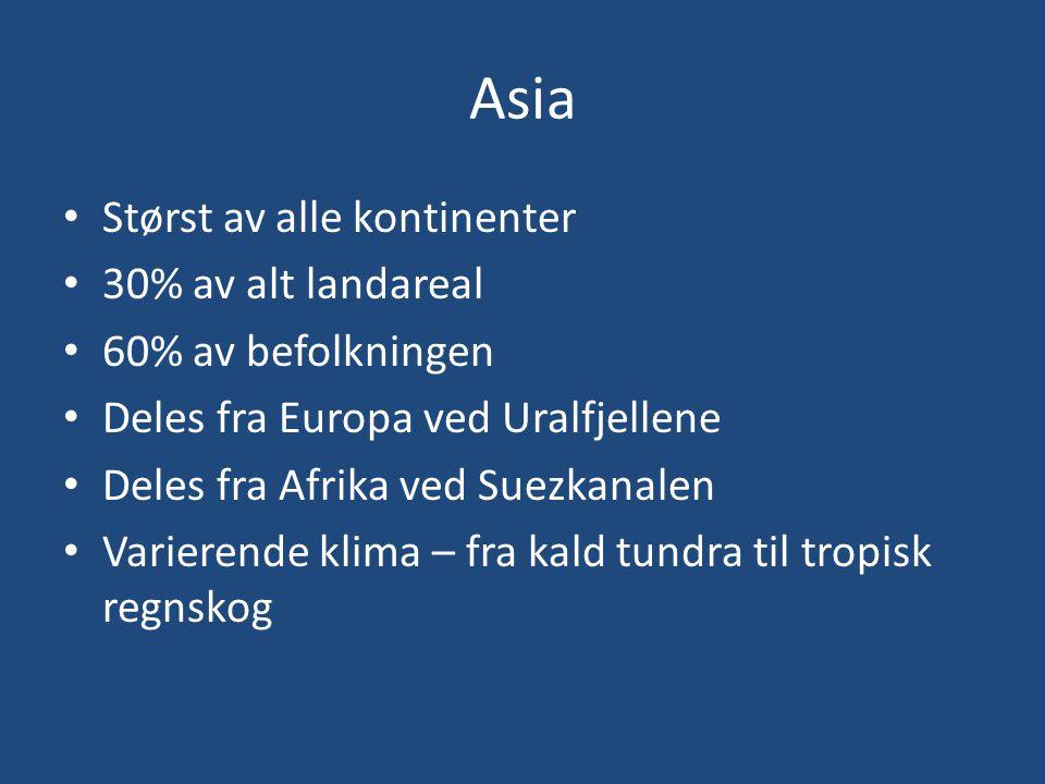 Asia Størst av alle kontinenter 30% av alt landareal