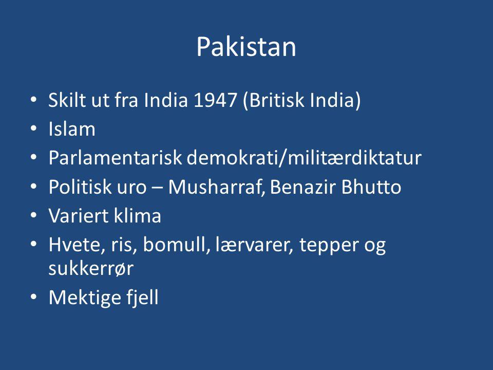 Pakistan Skilt ut fra India 1947 (Britisk India) Islam