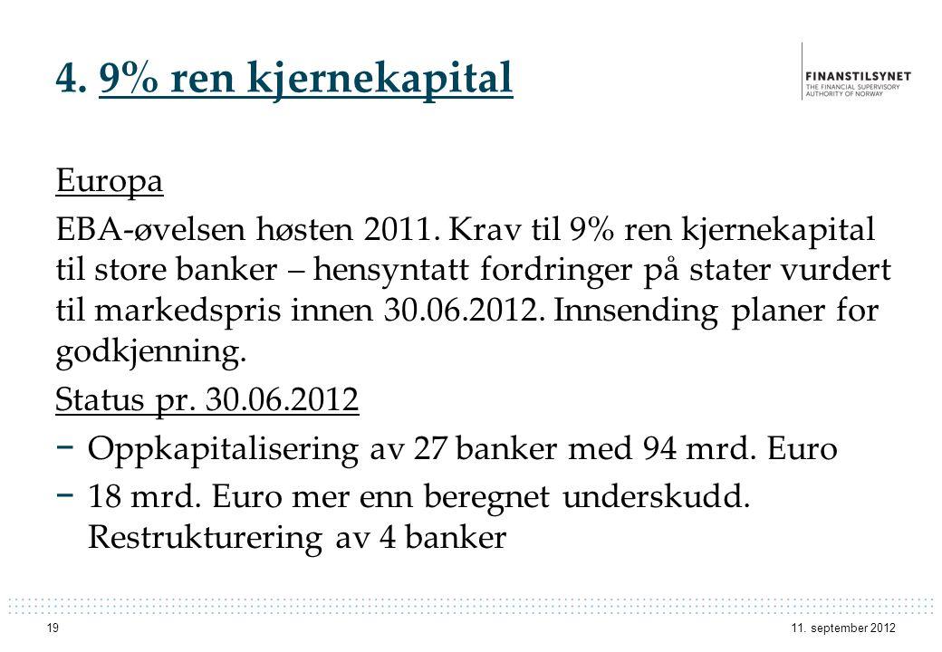 4. 9% ren kjernekapital Europa