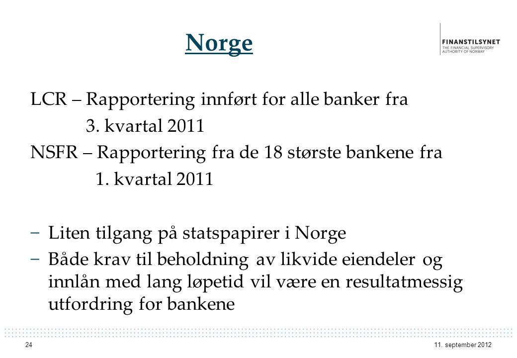 Norge LCR – Rapportering innført for alle banker fra 3. kvartal 2011