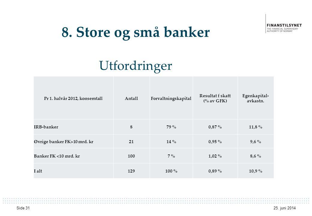 8. Store og små banker Utfordringer