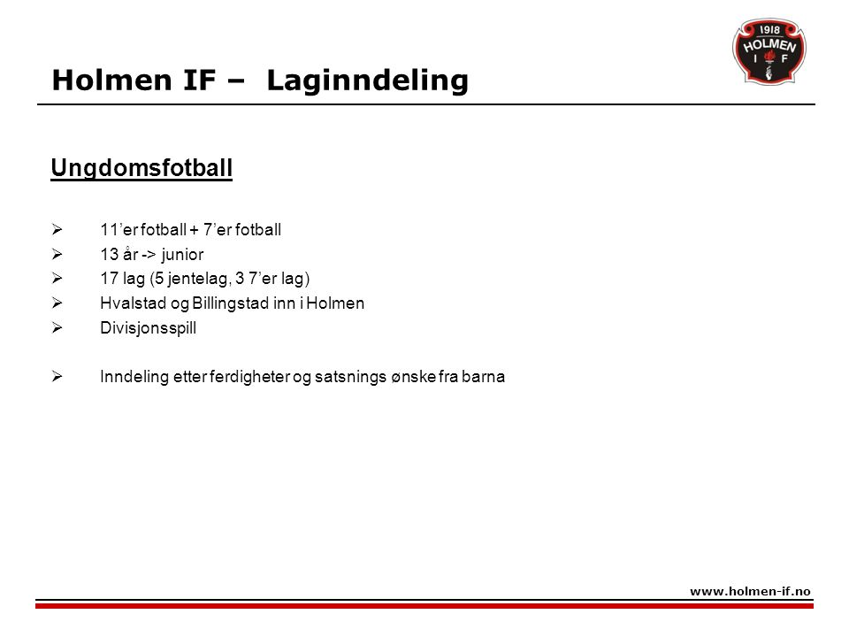 Holmen IF – Laginndeling
