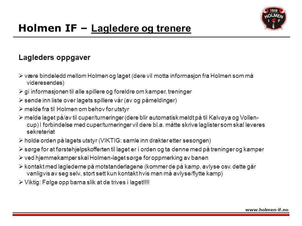 Holmen IF – Lagledere og trenere