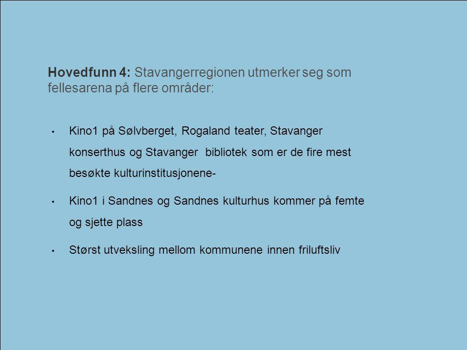 Hovedfunn 4: Stavangerregionen utmerker seg som fellesarena på flere områder: