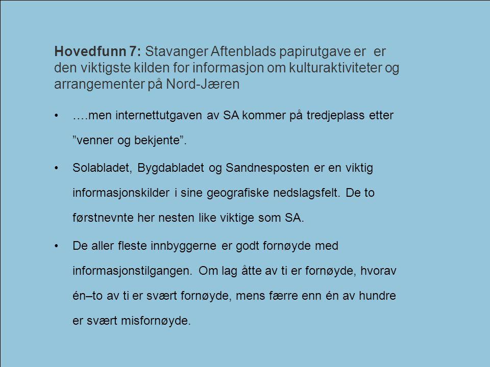 Hovedfunn 7: Stavanger Aftenblads papirutgave er er den viktigste kilden for informasjon om kulturaktiviteter og arrangementer på Nord-Jæren