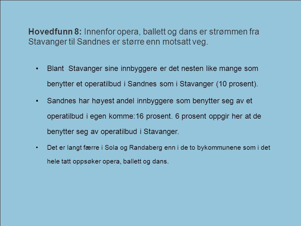 Hovedfunn 8: Innenfor opera, ballett og dans er strømmen fra Stavanger til Sandnes er større enn motsatt veg.