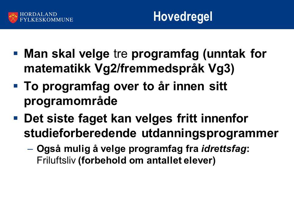 Hovedregel Man skal velge tre programfag (unntak for matematikk Vg2/fremmedspråk Vg3) To programfag over to år innen sitt programområde.