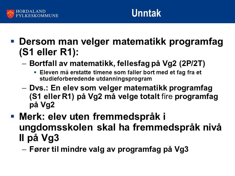 Unntak Dersom man velger matematikk programfag (S1 eller R1):