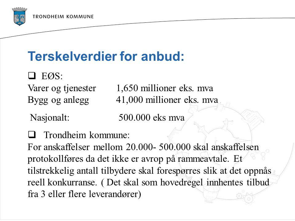 Terskelverdier for anbud: