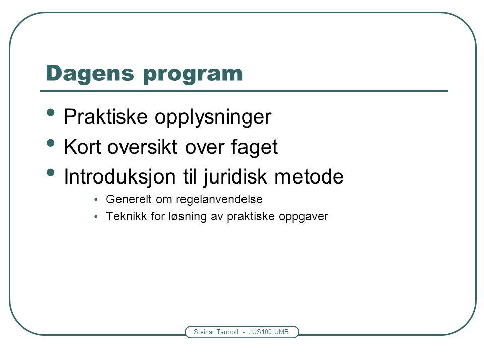 Dagens program Praktiske opplysninger Kort oversikt over faget