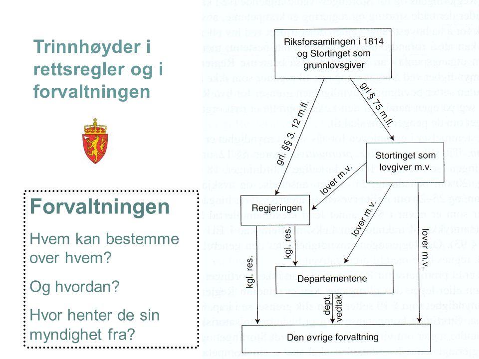 Forvaltningen Trinnhøyder i rettsregler og i forvaltningen