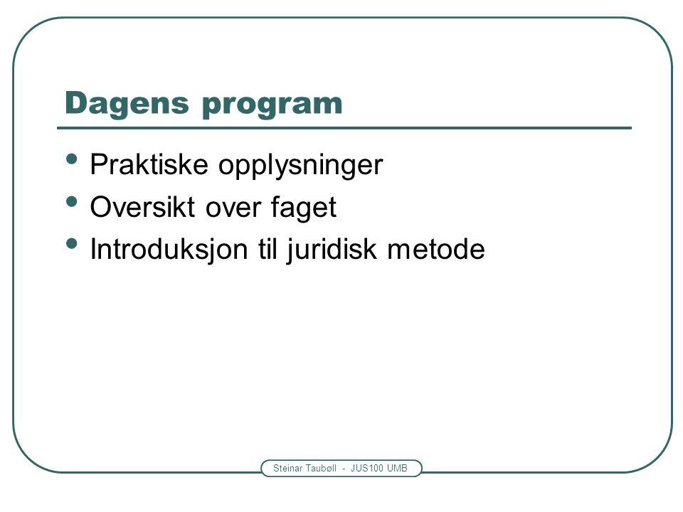 Dagens program Praktiske opplysninger Oversikt over faget