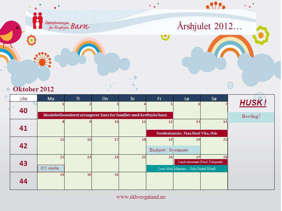 Årshjulet 2012… 40 41 42 43 44 HUSK ! Oktober 2012 www.skb-rogaland.no
